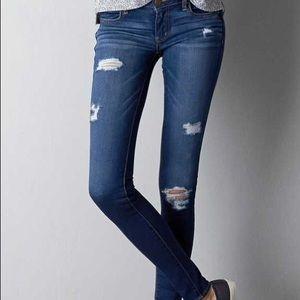 A.Eagle Skinny Distressed Jeans Blue Sz 30
